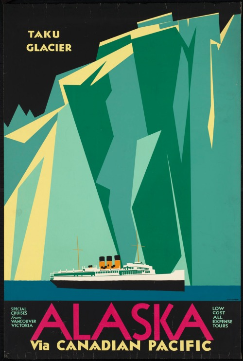 vintage cruise Alaska and Taku Glacier travel poster