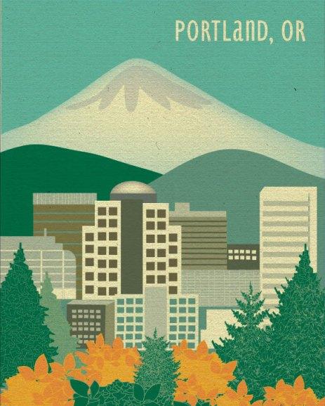 Portland, Oregon city cartoon - loosepetals