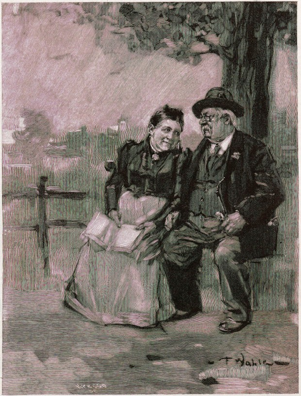 Couple by tree - Friedrich Wahle, Fliegende Blatter, 1907
