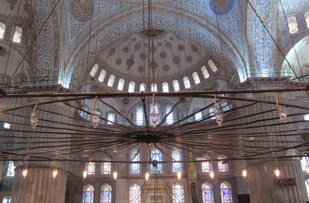 chandelier, Blue Mosque, Istanbul