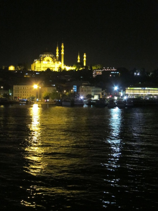 dinner view from Galata Bridge fish restaurants, Istanbul
