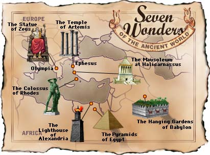 Map of 7 Wonders of the Ancient World