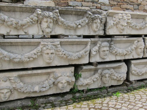 Stack of mask blocks - Aphrodisias, Turkey