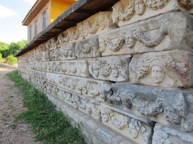 A wall of Agora architrave blocks - Aphrodisias, Turkey