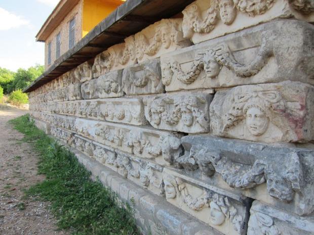 A wall of Agora architrave blocks - Aphrodisias, Turkey