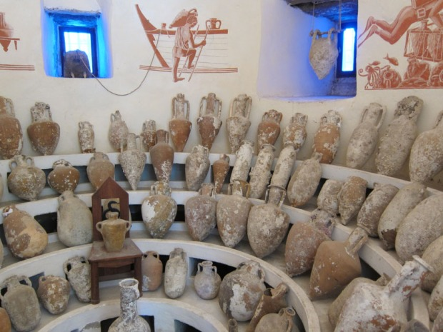 large display of ancient amphora