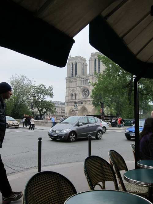 view of Notre Dame from a restaurant