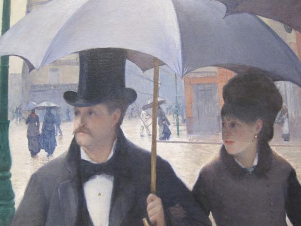 Caillebotte - Paris Street, Rainy Day, detail