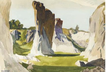 Edward Hopper, Lime Rock Quarry II, 1926, watercolor, private collection