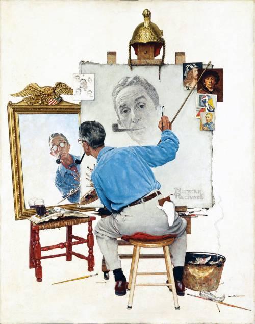 Norman Rockwell Triple Self Portrait 1960