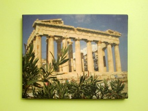 Parthenon canvas print in lime kitchen