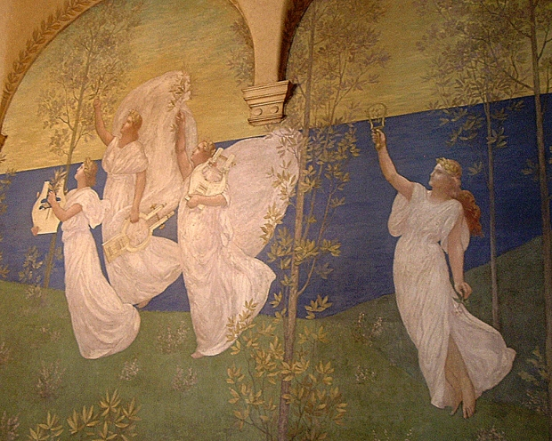 "Puvis de Chavannes, ""History, attended by a Spirit bearing a torch calls up the Past"" from the Boston Public Library"