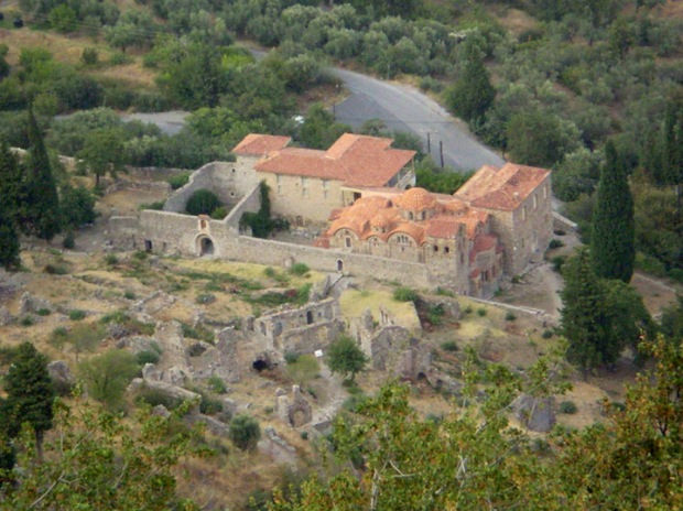 Partial view of Mystras lower town and the Metropolis (or cathedral) begun in the 13th century.