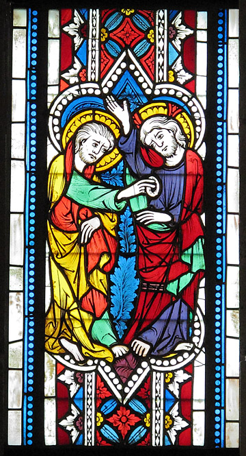 """Doubting Thomas"" Stained Glass, ca. 1340–50, from the church of St. Leonhard, Lavanttal, Austria. (Photo: The Cloisters Collection)"