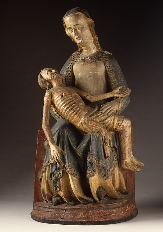 """Pietà"" from the Rhine Valley, Germany, ca. 1375-1400.  This emotional, devotional statue is made of wood and painted plaster. (Photo: The Cloisters Collection)"