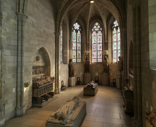 "This 13th century ""Gothic Chapel"" displays beautiful stain glass and royal burial effigies. (Photo: The Cloisters Collection)"