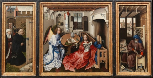 "Robert Campin and workshop, ""Annunciation Triptych (Merode Altarpiece)"", 1427–32 (Photo: The Cloisters Collection)"