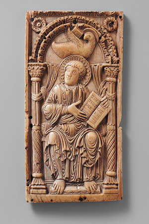 "An example of early Carolingian art made on elephant ivory, ""Plaque with Saint John the Evangelist"", early 9th century, Aachen, Germany. (Photo: Cloisters Collection)"