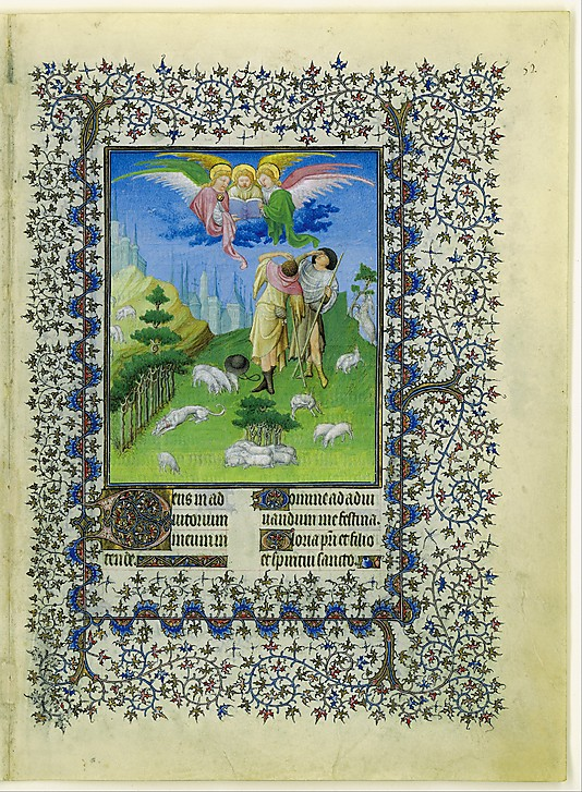 "Annunciation to the Shepherd from ""The Belles Heures of Jean de France, Duc de Berry"", ca. 1405-1409, Paris, France. (Photo: The Cloisters Collection)"