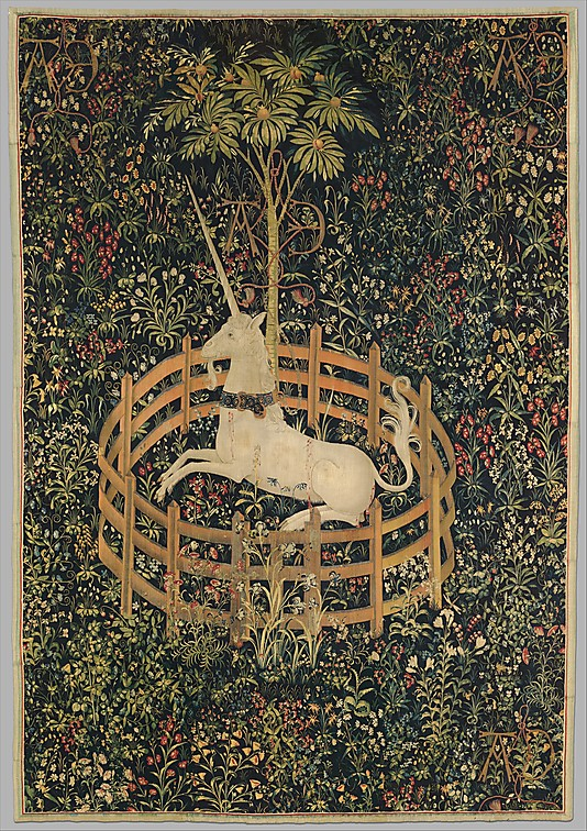 """The Unicorn in Captivity"", Netherlandish, 1495-1505 (Cloisters, Metropolitan Museum of Art)"