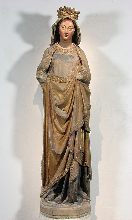 """Virgin"" from Strasbourg, France, done in a German style ca. 1250, painted limestone. (Photo: The Cloisters Collection)"