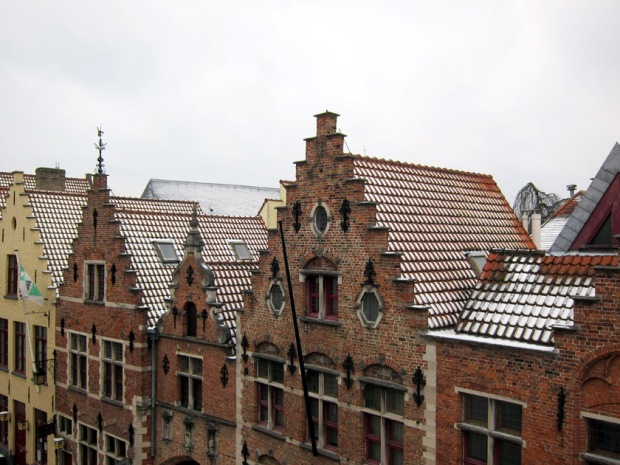 Bruges skyline with snow