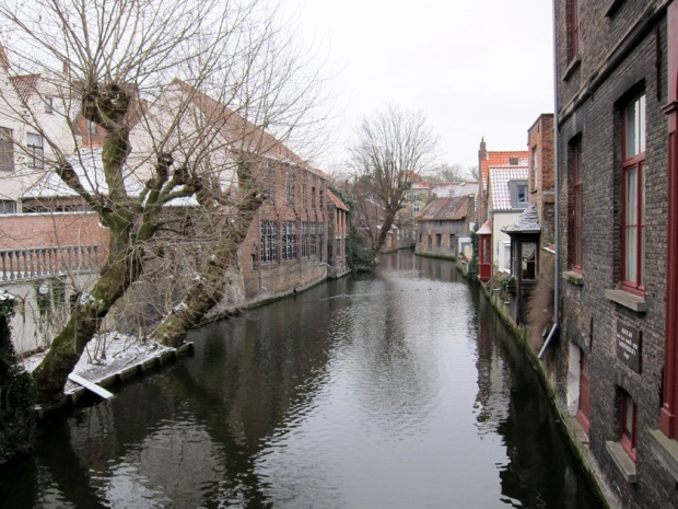 Bruges canal with snow