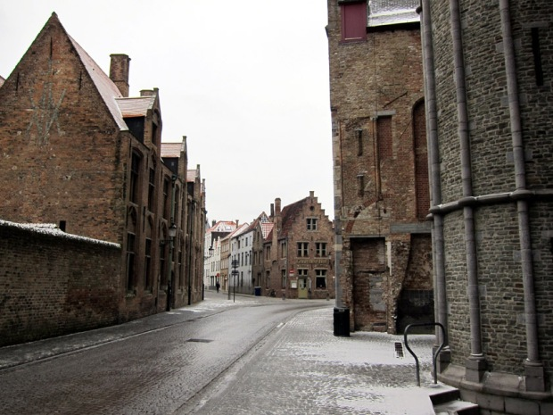 Bruges street with snow