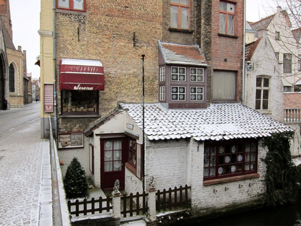 Bruges shop with snow