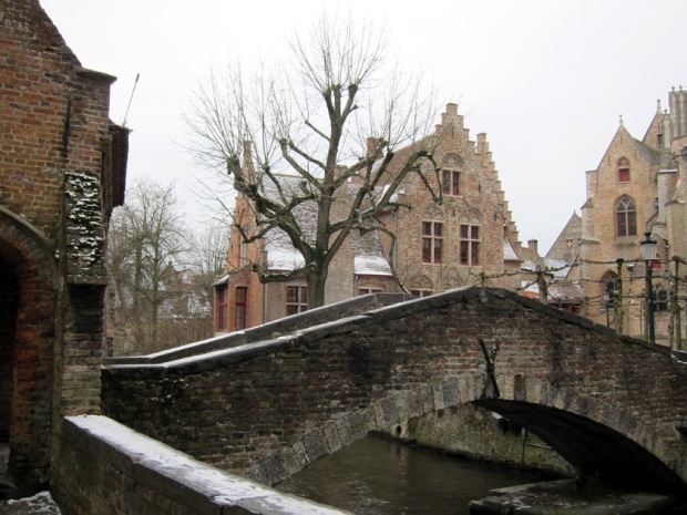Bruges, Belgium bridge in the Snow