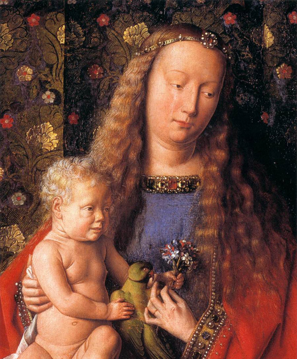 "Close up of the Virgin and Child from Jan van Eyck's ""Madonna with Canon van der Paele"""
