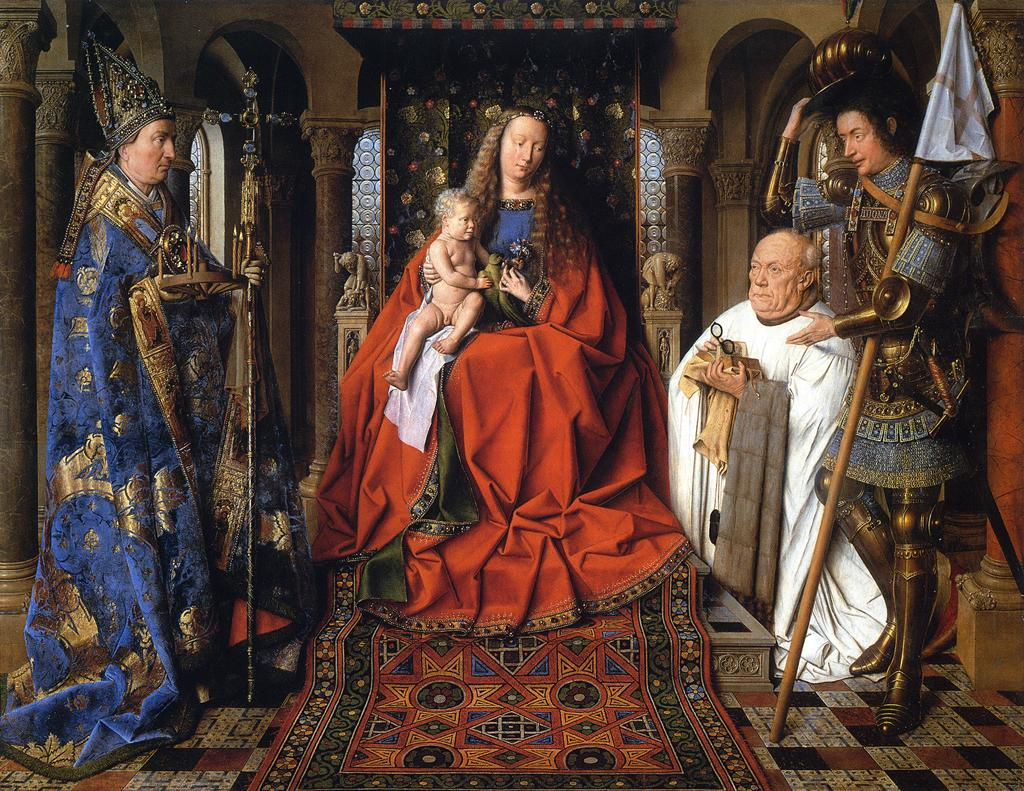 Jan van Eyck - The Madonna and Child with Canon van der Paele