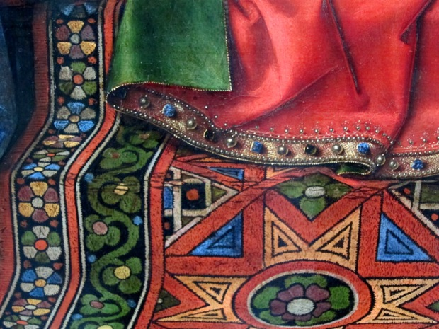 "Rug detail from Jan van Eyck's ""The Madonna and Child with Canon van der Paele"""