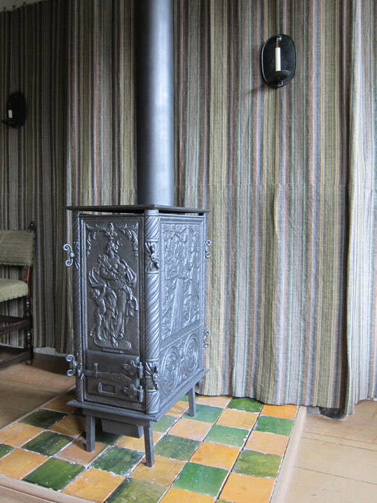 historic Dutch living room with stove