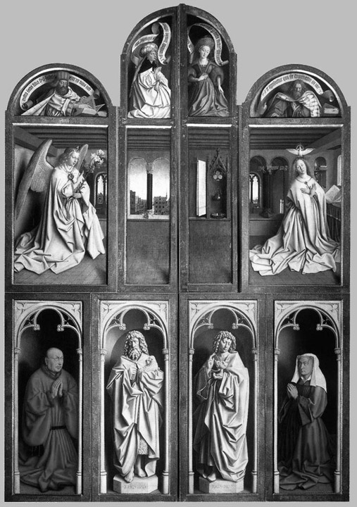 Ghent altarpiece front black and white