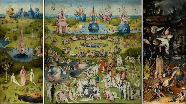 """Hieronymus Bosch - """"Garden of Earthly Delights"""", c 1500, Museo del Prado, Madrid"""