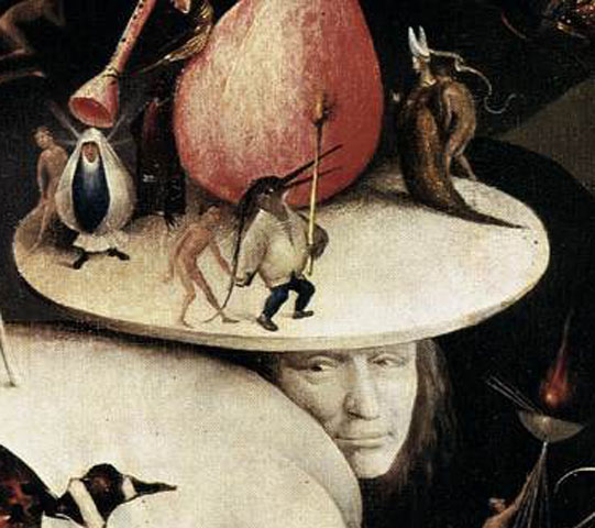 "self-portrait of Hieronymus Bosch in ""The Garden of Earthly Delights"""