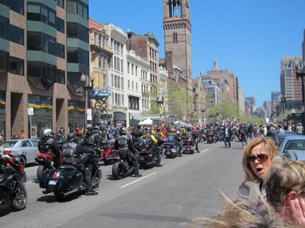 memorial bikers, Boston marathon finish line