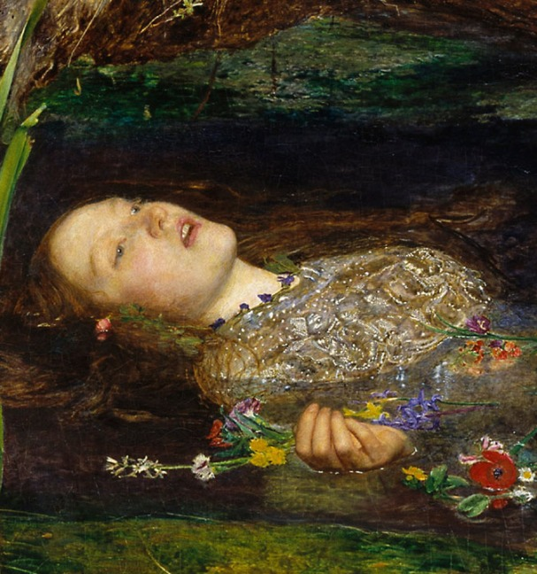 Detail of Ophelia's face