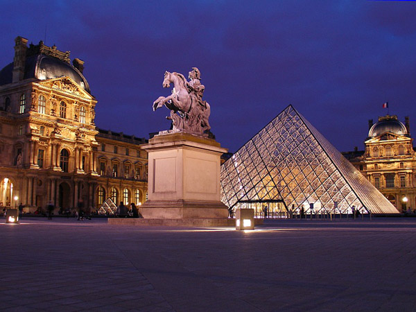 Louvre pyramid and equestrian statue
