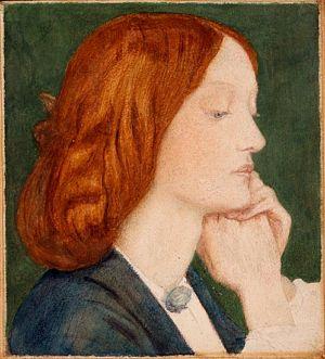 """Dante Gabriel Rossetti's """"Watercolor sketch of Elizabeth Siddal"""", 1854, Delaware Art Museum"""