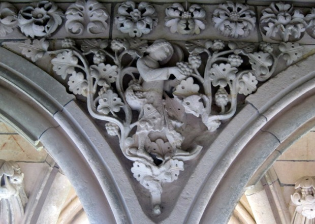 vineyard carving, monastery, Mont Saint Michel