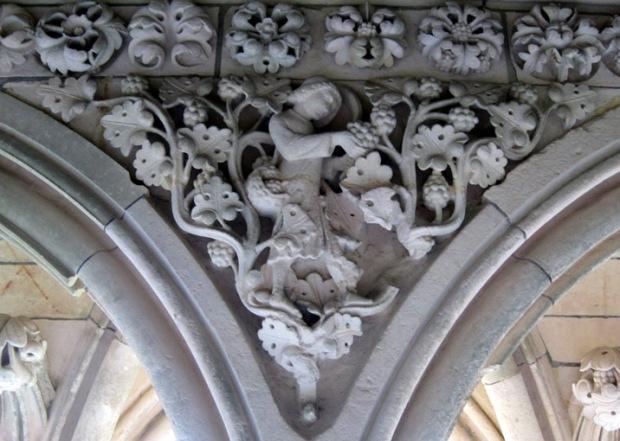 vineyard carving, monastery, Mont Saint Michel