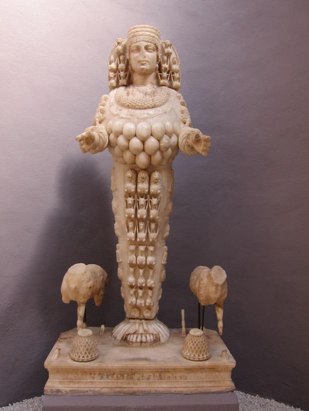 Artemis cult statue on display at the Ephesus Museum.