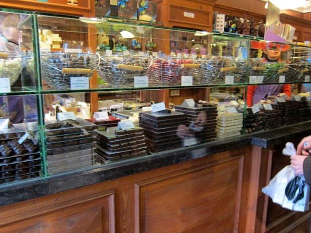 Truffle counter at The Chocolate Line, Bruges