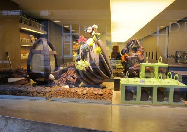 Bruges, Belgium chocolate truffle shop window Depla Chocolaterie