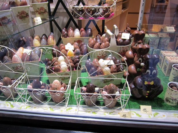 Bruges, Belgium chocolate truffle shop window