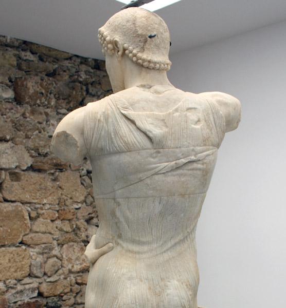 Upper back of The God of Mozia sculpture