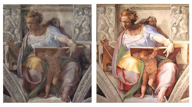 Sistine Chapel Daniel before and after