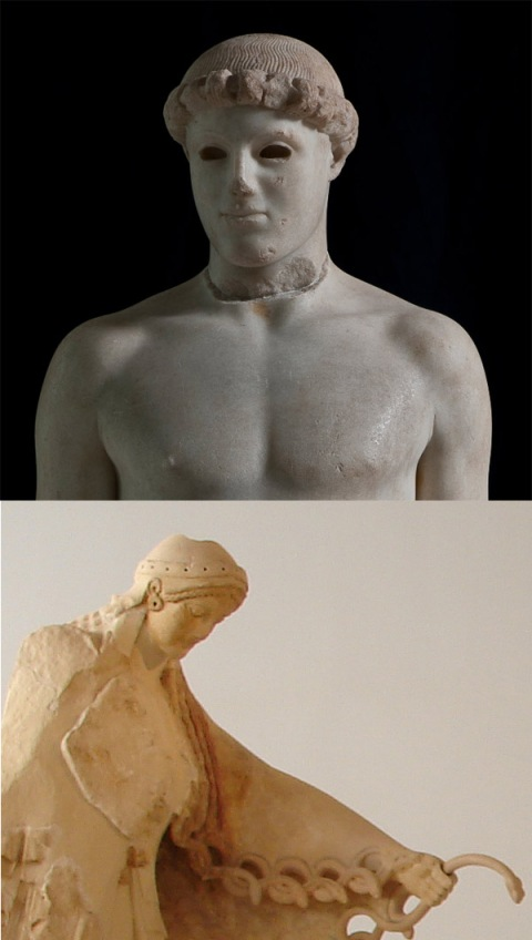 ancient greek statues with headpieces